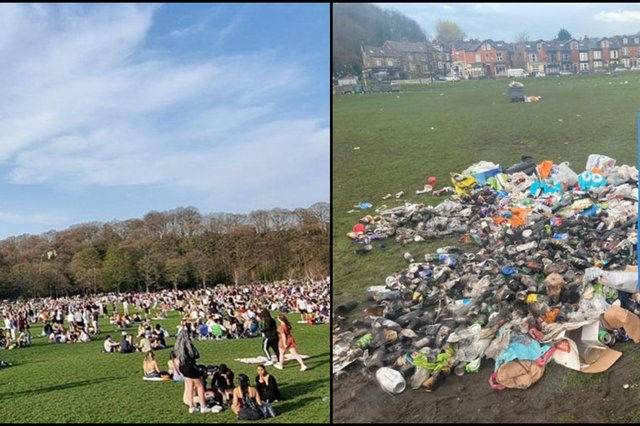 Before and After: Brits blasted for leaving piles of litter in parks as mini-heatwave coincides with easing of lockdown restrictions (Photos: Ellen Beardmore)