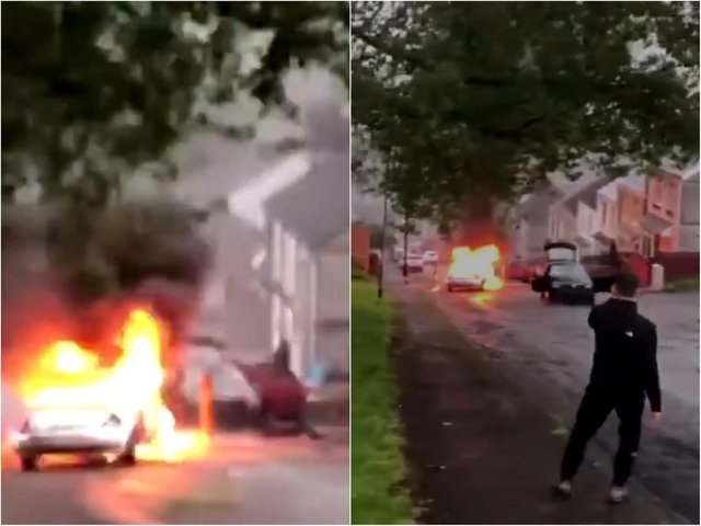 Yobs let a car freewheel backwards down a hill in Swansea as another was set on fire (images: social media).