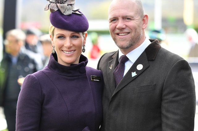 Zara and Mike Tindall at Cheltenham Racecourse - the couple have given birth to a son, who has been named Lucas Philip Tindall (Photo: PA/PA Wire)