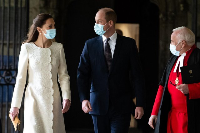 The Duke and Duchess of Cambridge (centre) walk with Dean of Westminster The Very Reverend Dr David Hoyle as they arrive for a visit to the vaccination centre at Westminster Abbey