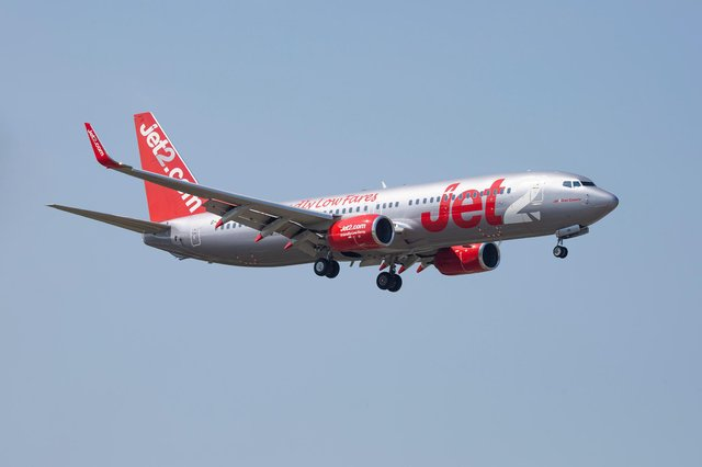 A jet2.com low cost carrier Boeing 737-800 landing at Thessaloniki Makedonia airport