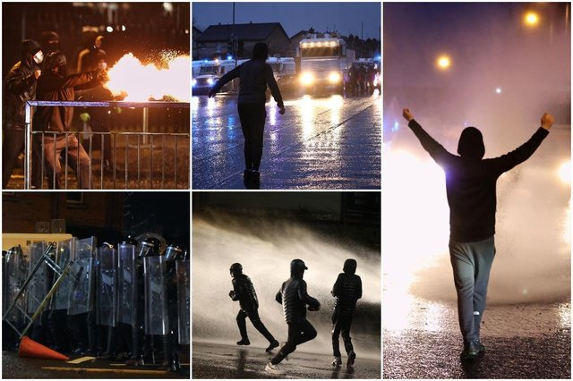 Police have blasted rioters with a water cannon as violence continued on the streets of Belfast
