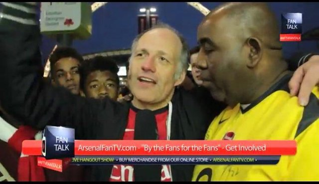Callegari (left) was known for his larger than life personality and outspoken opinions on the North London club (Photo: AFTV/Twitter/@AFTVRelated)