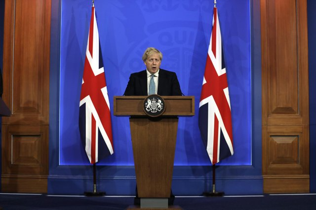 Prime Minister Boris Johnson during a media briefing in Downing Street on May 14 (PA).