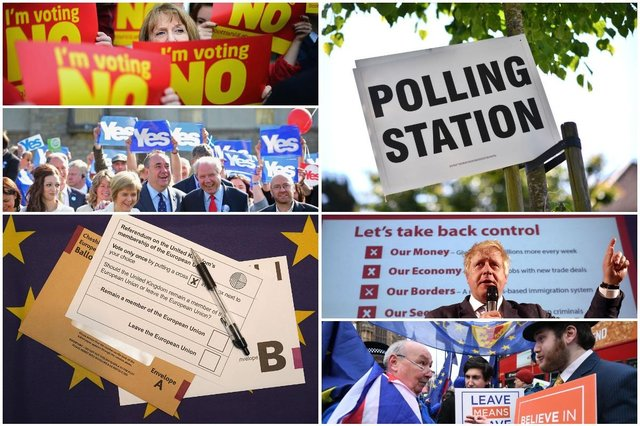 It's five years since our last UK-wide referendum, surely we must be due another? (Photos by Jeff J Mitchell, Carl Court, Leon Neal, Christopher Furlong, Geoff Caddick/AFP, Ben Stansall/AFP - Getty Images)