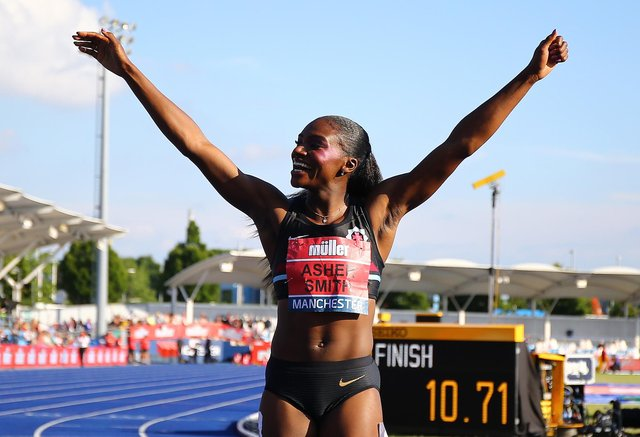 Dina Asher-Smith celebrates winning the women's 100m final at the British Athletics Championships in Manchester in June. (Pic: Getty Images)