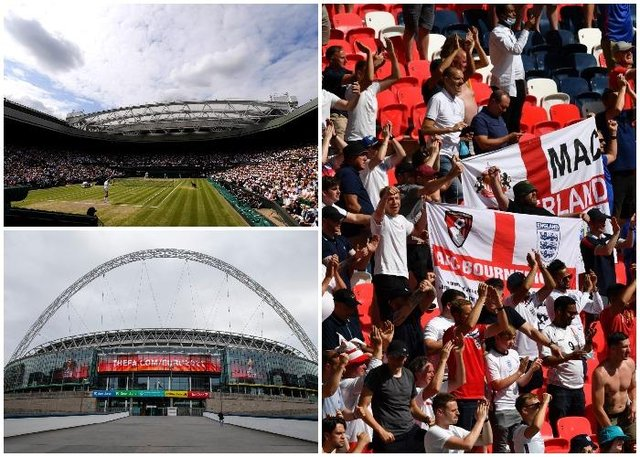 The Wimbledon finals will be contested in front of capacity crowds and 40,000 fans will be allowed in Wembley for its final Euro 2020 fixtures (Getty Images)