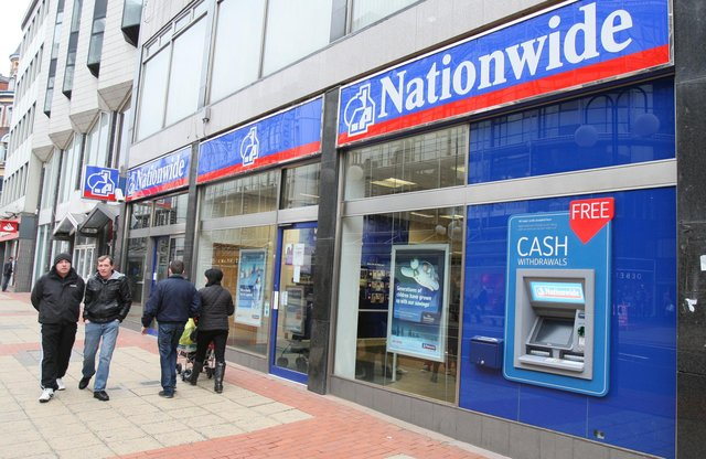 A branch of Nationwide Building Society in Belfast. Nationwide Building Society as unveiled plans to allow 13,000 employees to choose where they work