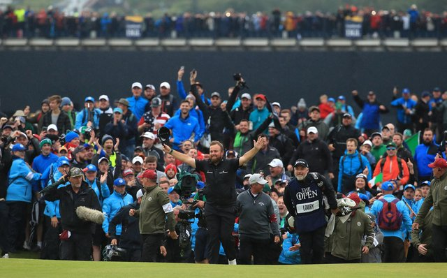 Here's how to watch iconic moments, like the moment Shane Lowry won in 2019, from this year's The Open Championship on TV. (Pic: Getty)