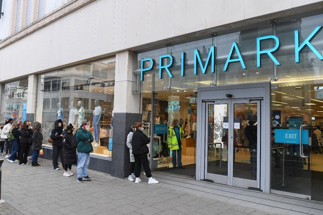 Shoppers queue outside Primark as non-essential retail reopens in England. (Pic: Getty)