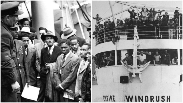 Caribbean migrants are welcomed by RAF officials after the Empire Windrush landed them in London in 1948 (PA Media/Getty Images)