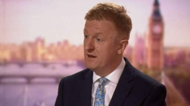 Oliver Dowden told Andrew Mar that legally imposed social distancing restrictions could remain in place beyond June, and a further lockdown could not be ruled out (Picture: BBC)