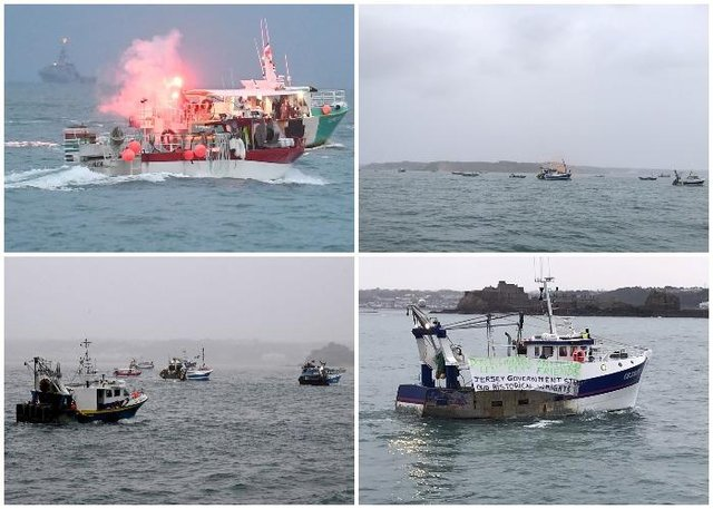 A flotilla of fishing vessels are seen in St Helier harbour, Jersey as French fishermen protest post Brexit changes to fishing in the area (SWNS/Jersey Evening Post)