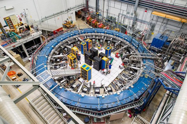 The Muon g-2 ring studies the wobble of muons as they travel through a magnetic field (Photo: Fermilab)