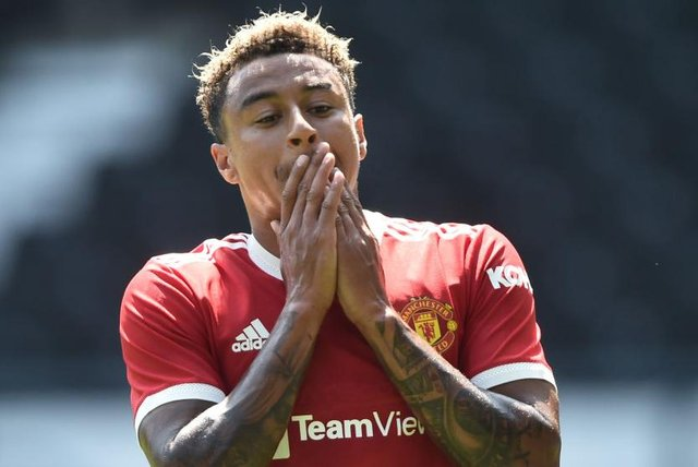 Jesse Lingard of Manchester United reacts during the pre-season friendly match between Derby County and Manchester United at Pride Park on July 18, 2021 in Derby, England. (Photo by Nathan Stirk/Getty Images)