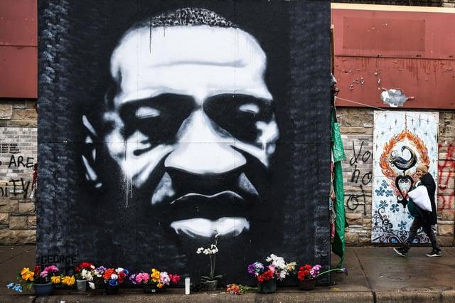 A memorial of George Floyd was created near the court which heard the three-week trial. (Chandan Khanna/AFP/Getty)