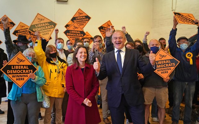 Liberal Democrat leader Ed Davey and new Liberal Democrat MP for Chesham and Amersham, Sarah Green celebrate following victory in Buckinghamshire (PA)