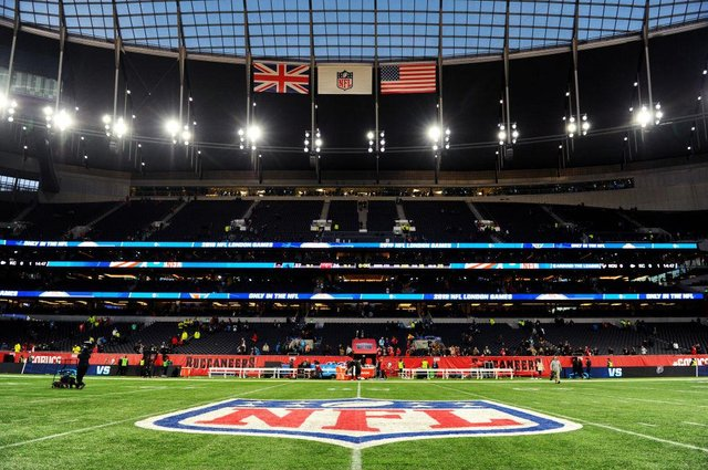 General view inside the stadium after the NFL match between the Carolina Panthers and Tampa Bay Buccaneers at Tottenham Hotspur Stadium on October 13, 2019 in London.