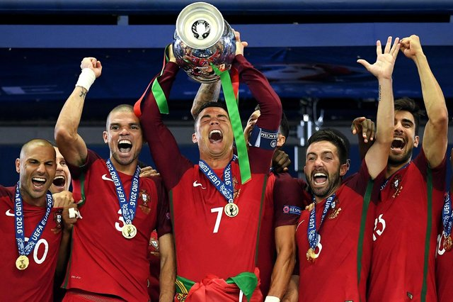 Cristiano Ronaldo lifts the Euros trophy after Portugal beat France at the 2016 tournament. (Pic: Getty)