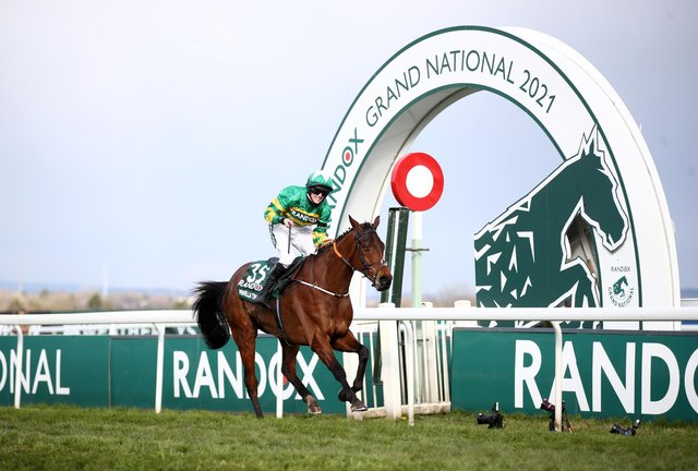 Minella Times ridden by Rachael Blackmore win the Randox Grand National Handicap Chase during Grand National Day of the 2021 Randox Health Grand National Festival at Aintree Racecourse, Liverpool.