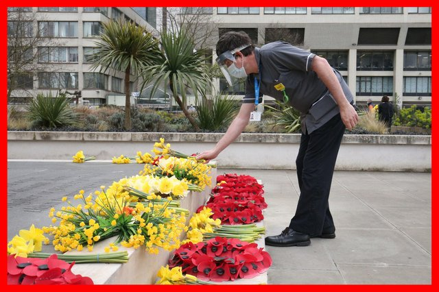 A member of staff places flowers near the statue of Crimean War nurse Mary Seacole during a ceremony to observe a minute's silence at St Thomas' Hospital, central London