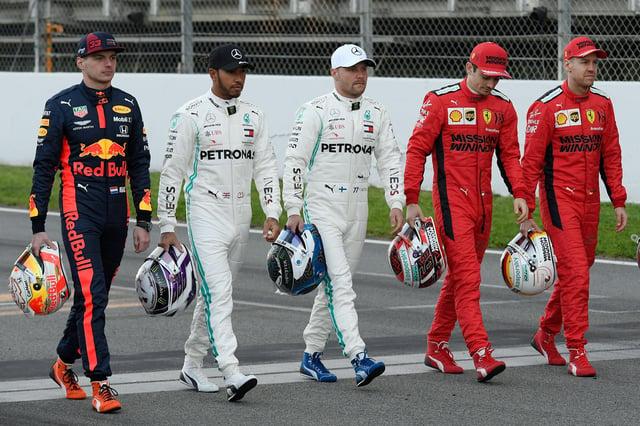 Max Verstappen, Lewis Hamilton, Valtteri Bottas, Charles Leclerc and Ferrari's German driver Sebastian Vettel take part in the Netflix documentary shooting ahead of the tests for the new 2020 season.