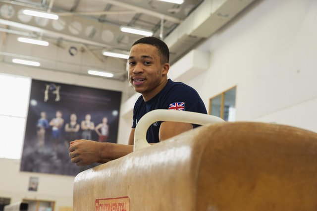 British gymnast Joe Fraser in training during content collection session as part of the Purplebricks Team GB Home Support Campaign.