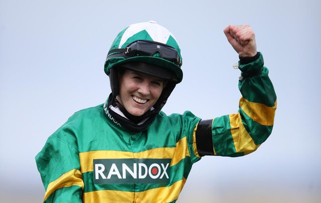 Rachael Blackmore celebrates winning on Minella Times, the Randox Grand National Handicap Chase (Getty Images)