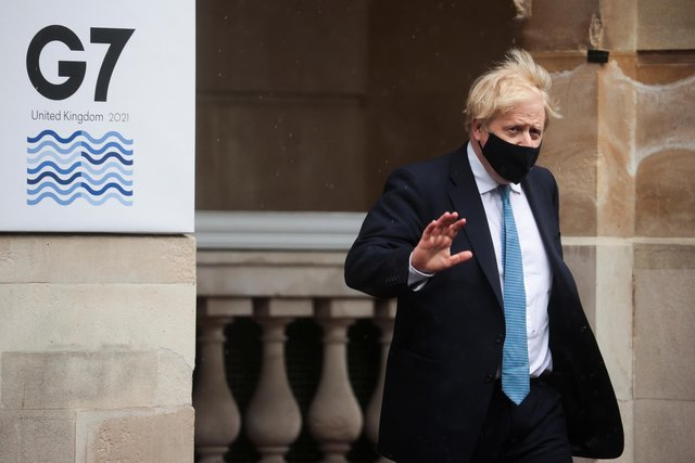 Boris Johnson departs from the G7 foreign ministers' meeting on 5 May in London where representatives from G7 countries met face-to-face for the first time in two years, ahead of the G7 leaders' summit in June. (Hannah McKay - WPA Pool/Getty Images)