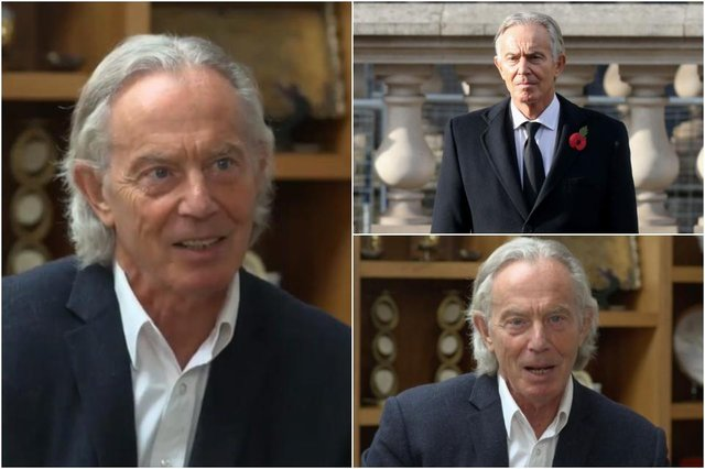Tony Blair with his new, 'creepy lockdown mullet' - and how we're more used to seeing the former PM (top right) (Photos: ITV/Getty Images)