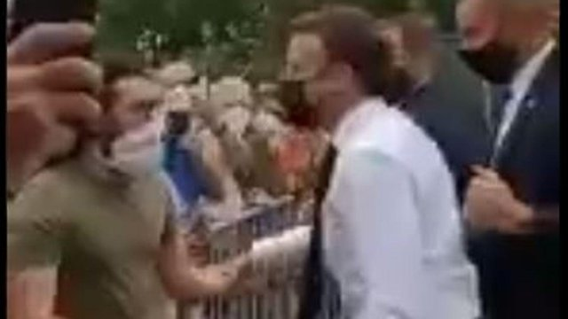 Emmanuel Macron was slapped by a bystander on Tuesday