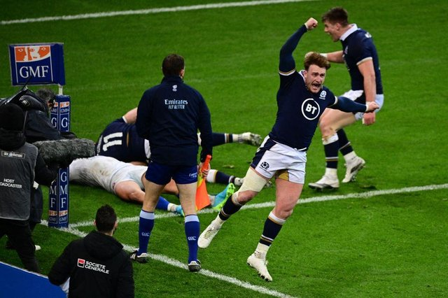 Two tries from Van Der Merwe and one from replacement hooker Dave Cherry secured Scotland's first win in Paris since 1999. (Photo by MARTIN BUREAU/AFP via Getty Images)