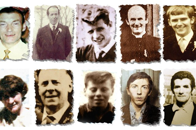 (Left to right top row) Joseph Corr, Danny Taggart, Eddie Doherty, Father Hugh Mullan, Frank Quinn, Paddy McCarthy, (left to right, bottom row) Joan Connolly, John McKerr, Noel Philips, John Laverty and Joseph Murphy, who were all gunshot victims of the Ballymurphy massacre in west Belfast in 1971