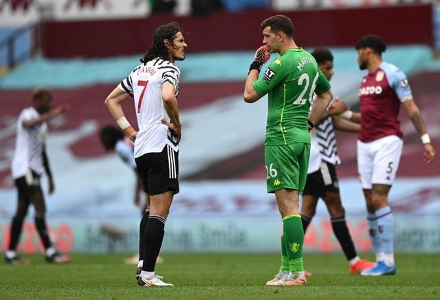 Edinson Cavani of Manchester United interacts with Emiliano Martinez of Aston Villa. (Photo by Shaun Botterill/Getty Images)