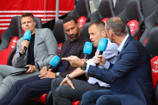 Jake Humphrey, Rio Ferdinand and Joe Cole report for BT Sport. (Photo by Catherine Ivill/Getty Images)