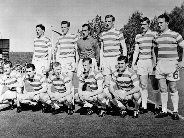 The Lisbon Lions. The Celtic team line up before their European Cup Final match against Inter Milan in Lisbon. They went on to win 2-1 to become the first British club to lift the trophy.