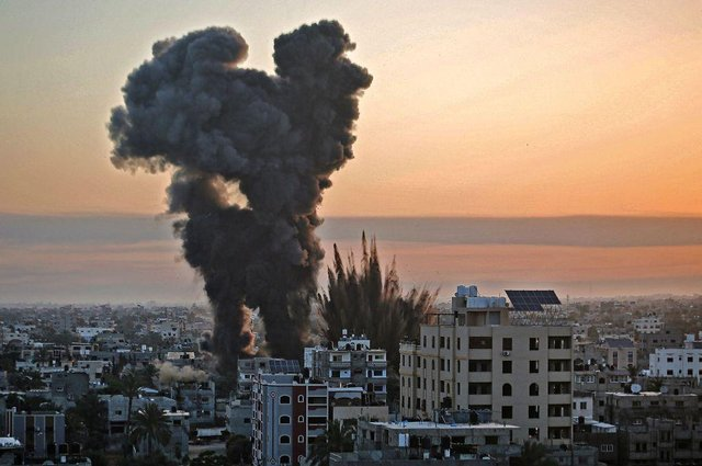 A series of Israeli airstrikes were targeted Khan Yunis in the southern Gaza strip, early on May 12, 2021.