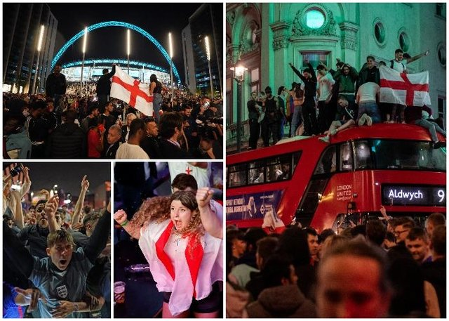 England fans celebrated into the night after beating Denmark in the Euro 2020 semi-final (PA and Getty Images)