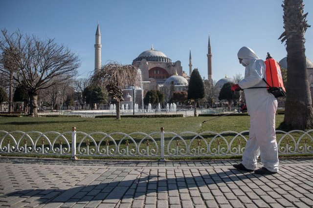 The streets outside ancient Hagia Sophia in Istanbul are disinfected (Getty Images)