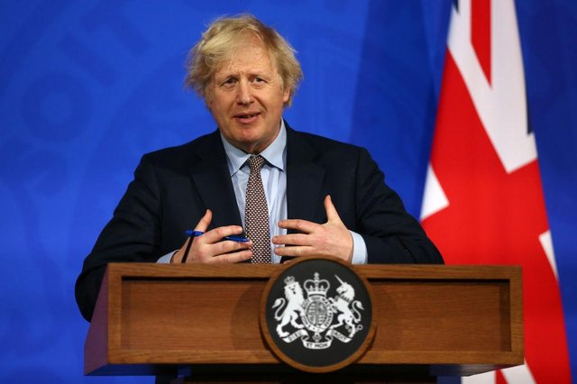 Prime Minister Boris Johnson giveing an update on the coronavirus Covid-19 pandemic during a virtual press conference in the new £2.6million No9 briefing room on March 29, 2021 in London, England.