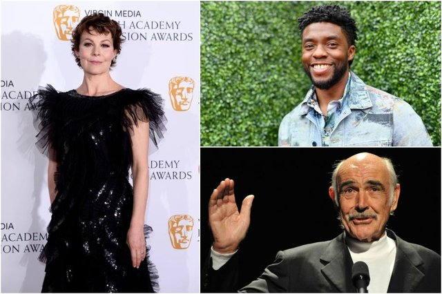 The late Helen McCrory, Chadwick Boseman and Sir Sean Connery were all honoured at this year's awards - though the segment has drawn complaints online (Photos: Getty Images)