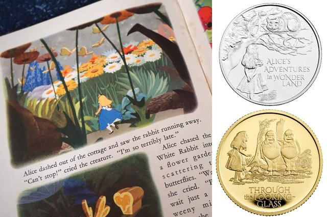 One coin features the scene where Alice meets the Cheshire Cat, while the other stars the twins Tweedledum and Tweedledee (Photo: Shutterstock/PA Media)