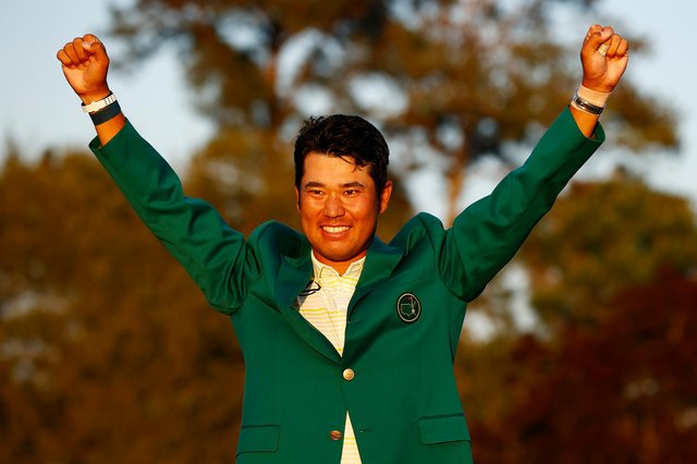 Hideki Matsuyama celebrates during the Green Jacket Ceremony after winning the Masters at Augusta National Golf Club.  Picture: Jared C. Tilton/Getty Images