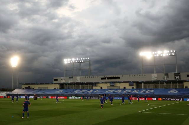 The Champions League semi-final first leg between Real Madrid and Chelsea took place at the Estadio Alfredo Di Stefano. (Pic: PA)
