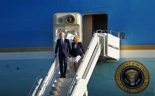 US President Joe Biden and First Lady Jill Biden arrive on Air Force One at RAF Mildenhall in Suffolk, ahead of the G7 summit in Cornwall. (PA)