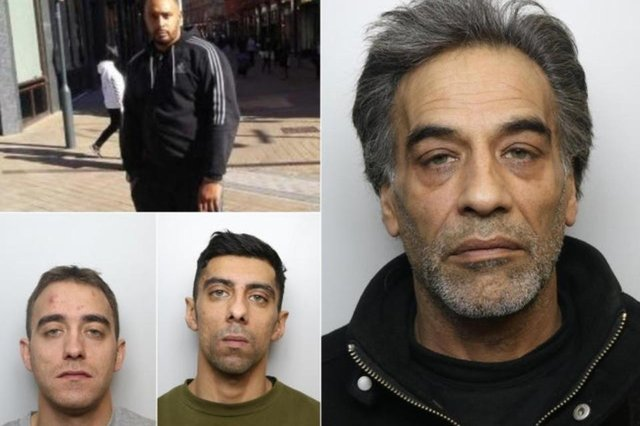 Farooq Ishaq Ahmed (right) was jailed for helping his sons Kearon Barker (bottom left) and Omar Ishaq (bottom centre) to try to flee the country after they murdered Keith Harrower (top left) (Photo: West Yorkshire Police)