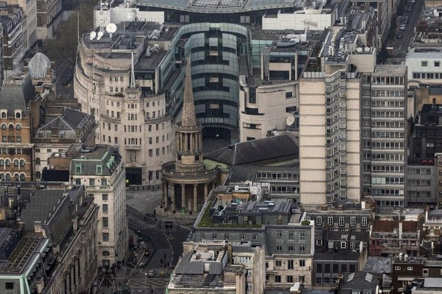 An aerial view shot of the BBC studios in London.