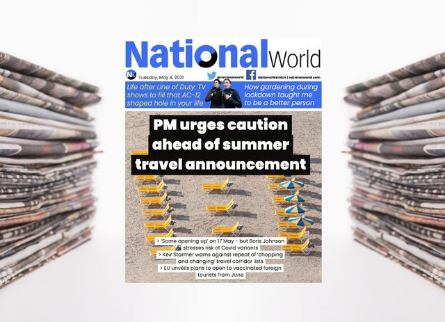 The digital front page of NationalWorld for 4 May