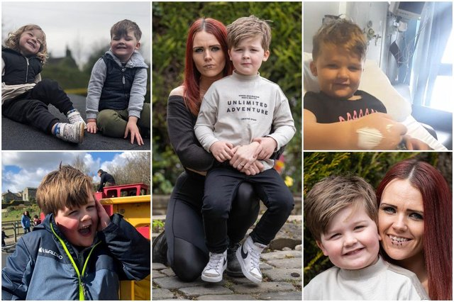 Kimberly O'Brien, 28 with her son Sebastian Metcalfe, 5 of Bradford, West Yorkshire, who suffers from strokes