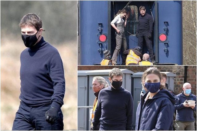 Tom Cruise and co-star Hayley Atwell prepare to shoot what looks to be a train stunt on a specially modified carriage, as part of the production of Mission: Impossible 7 (Photos: Richard Ponter/JPI Media)